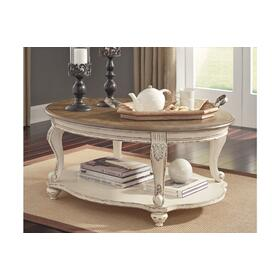 Realyn Oval Cocktail Table White/Brown