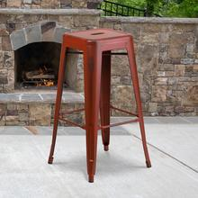 """See Details - Commercial Grade 30"""" High Backless Distressed Kelly Red Metal Indoor-Outdoor Barstool"""