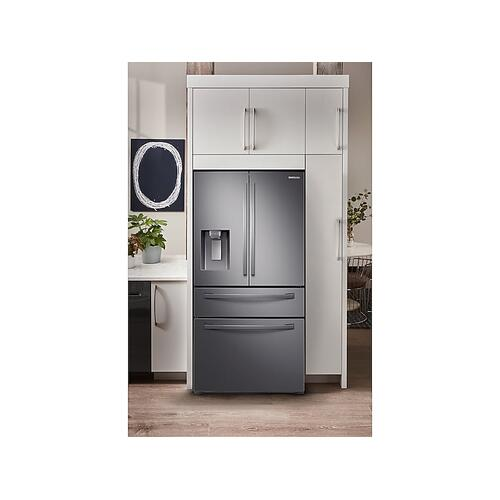 23 cu. ft. Counter Depth 4-Door French Door Refrigerator with FlexZone™ Drawer in Black Stainless Steel