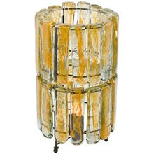 2 Tiered Blown Glass Yellow Table Lamp