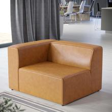 Mingle Vegan Leather Left-Arm Chair in Tan