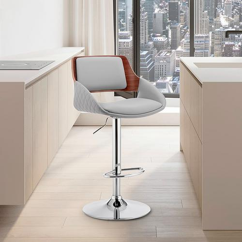 Armen Living - Colby Adjustable Grey Faux Leather and Chrome Finish Bar Stool