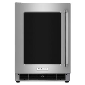 """Kitchenaid24"""" Undercounter Refrigerator with Glass Door and Metal Trim Shelves - Stainless Steel"""