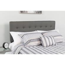 See Details - Lennox Tufted Upholstered Queen Size Headboard in Gray Vinyl