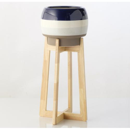 Orbit Blue Stripe Planter on Tall Wooden Stand, Large