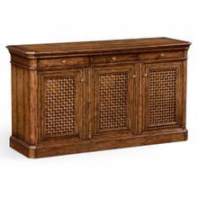 Walnut sideboard with lattice doors