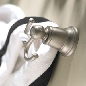 Kingsley brushed nickel double robe hook