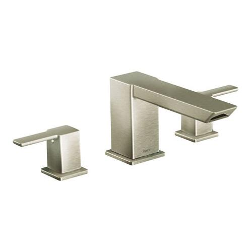 90 Degree brushed nickel two-handle roman tub faucet