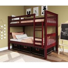 Twin Over Twin Mission Bunk Bed, Mahogany