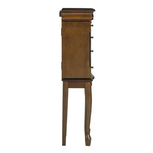 4-drawer and 2 Side Storage Jewelry Armoire, Walnut and Black