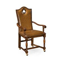 "High Back Playing Card ""Spade"" Arm Chair with Medium Antique Chestnut Leather"