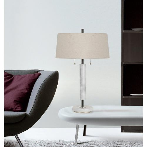 60W X 2 Mexia Marble Desk Lamp With Pull Chain Switches And Burlap Shade