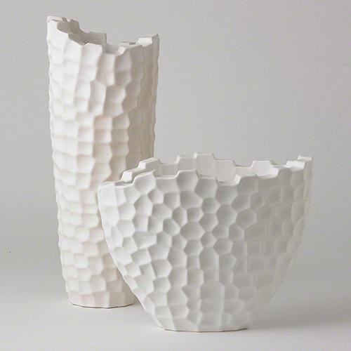 Random Grid Vase-Matte White-Tall