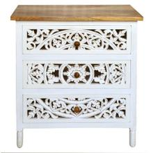 CAMILLA ACCENT CHEST  29in w. X 33in ht. X 17in d.  Mango Wood Three Drawer Chest with Open Work F