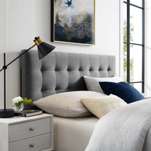 Lily Biscuit Tufted Full Performance Velvet Headboard in Gray