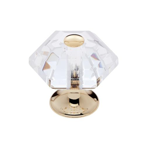 24k Gold 30 mm 6-Sided Crystal Knob
