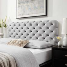 Lizzy Tufted Twin Performance Velvet Headboard in Light Gray