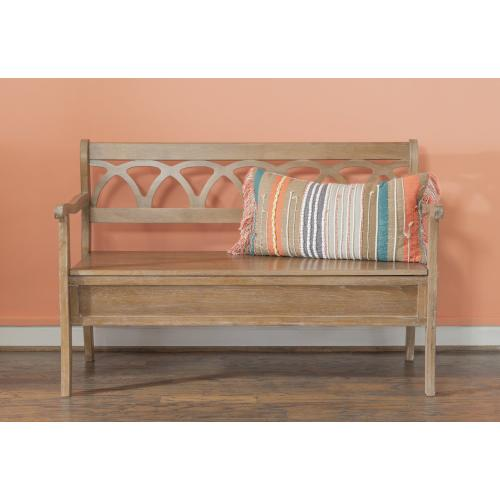 48-inch Lift Top Storage Bench With Arms, Natural