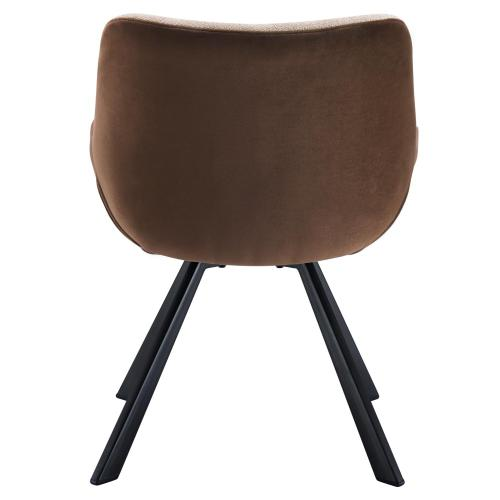Amora KD Fabric/ Velvet Fabric Tufted Arm Chair, Strata Cream/ Beta Brown