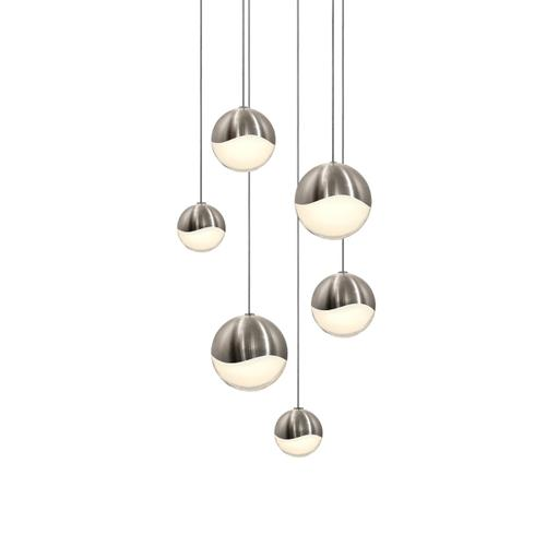 Sonneman - A Way of Light - Grapes® LED Pendant [Size=6-Light Assorted, Color/Finish=Satin Nickel, Shape=Round Canopy]