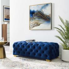 Sensible Button Tufted Performance Velvet Bench in Navy