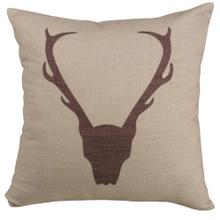 Printed Antler Burlap Throw Pillow