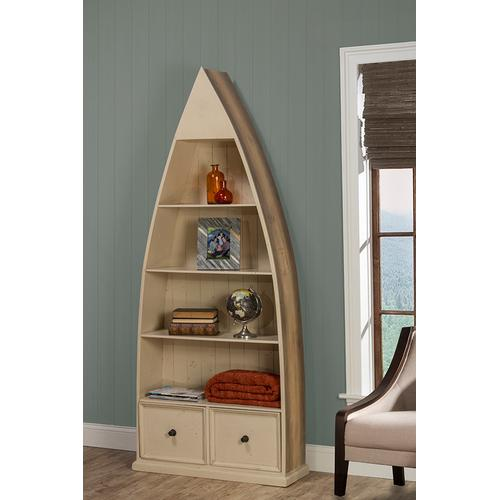 Hillsdale Furniture - Tuscan Retreat® Dinghy Boat 4 Shelves Bookcase With Drawers - Gray With Country White Top