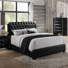 Blemerey 110 Black Wood bonded leather QUEEN & KING Bed, King