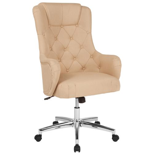 Gallery - Chambord Home and Office Upholstered High Back Chair in Beige Fabric