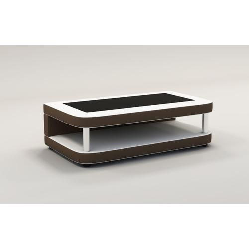 Divani Casa EV24 Modern White & Brown Bonded Leather Coffee Table