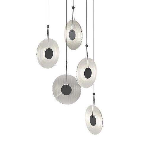 Sonneman - A Way of Light - Meclisse LED Pendant [Size=5-Light, Color/Finish=Satin Black w/Clear Glass]