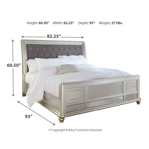 King Upholstered Sleigh Bed With Mirrored Dresser