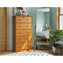 See Details - 5354 - Five-Super Jumbo Drawer Chest, Honey Pine