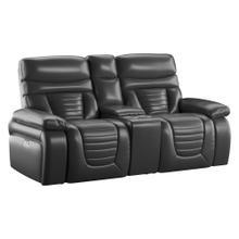 See Details - Power Console Loveseat W/ Power Headrest-black