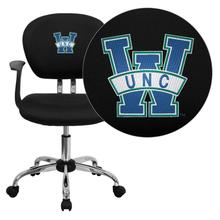North Carolina - Wilmington Seahawks Embroidered Black Mesh Task Chair with Arms and Chrome Base