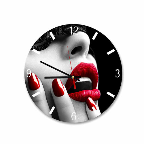 Grako Design - Woman Red Lips Black White Round Square Acrylic Wall Clock