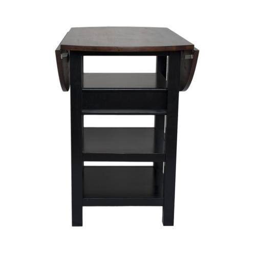 Quincy Pub Table - Black w/Cherry Finish Drop Leaf Top
