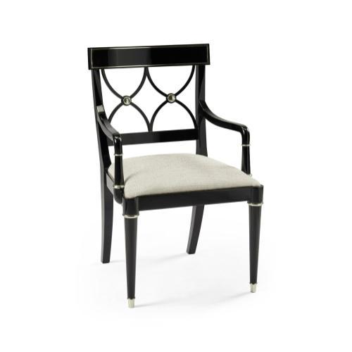 Madison Piano Black & White Brass Dining Armchair, Upholstered in Shambala
