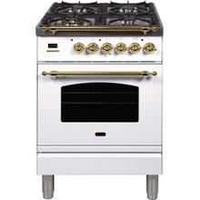 Nostalgie 24 Inch Dual Fuel Liquid Propane Freestanding Range in White with Brass Trim