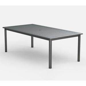 "44"" x 87"" Rectangular Cafe Table (with Hole) Ht: 30"" Post Aluminum Base (Model # Includes Both Top & Base)"
