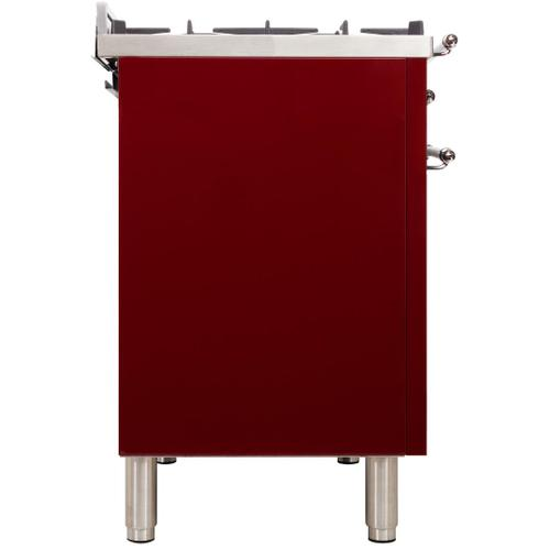 Nostalgie 48 Inch Dual Fuel Liquid Propane Freestanding Range in Burgundy with Chrome Trim