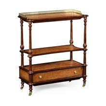 Mahogany, brass and leather inlaid 3-tier etag re with drawer