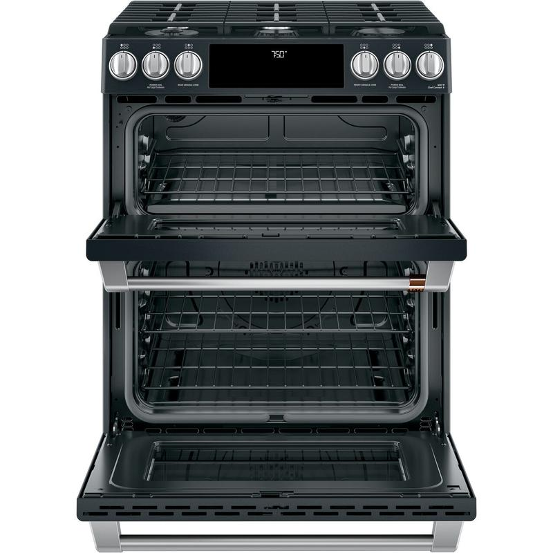 """Café™ 30"""" Smart Slide-In, Front-Control, Gas Double-Oven Range with Convection"""