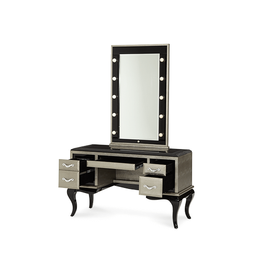 After Eight Titanium Vanity/Desk & Mirror