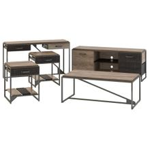 Refinery 60W TV Stand with Console Table, Coffee Table and End Tables - Rustic Gray