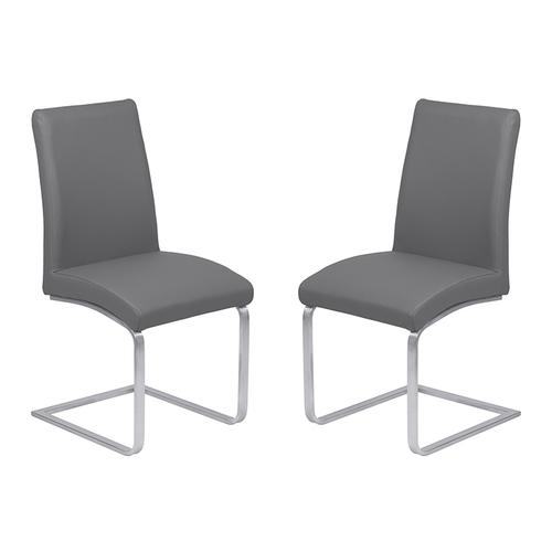 Armen Living Blanca Contemporary Dining Chair in Gray Faux Leather with Brushed Stainless Steel Finish - Set of 2