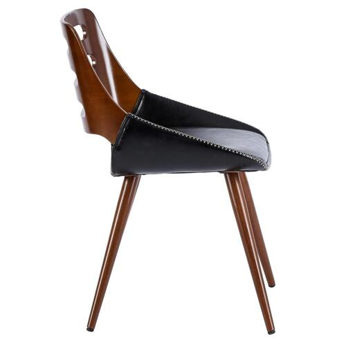 Product Image - Shelton KD PU Bamboo Dining Side Chair, Black/Walnut