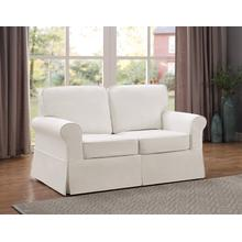 Ashton Slipcover Loveseat Cottage Style In Ivory Fabric