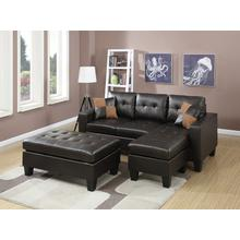 Larisa Sectional Sofa Set, Espresso-bonded-leather