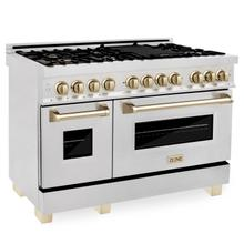 """View Product - ZLINE Autograph Edition 48"""" 6.0 cu. ft. Dual Fuel Range with Gas Stove and Electric Oven in DuraSnow® Stainless Steel with Accents (RASZ-SN-48) [Color: Gold]"""
